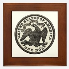 Seated Liberty Reverse Framed Tile