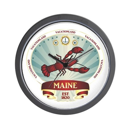 Maine Lobster Crest Wall Clock