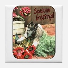 Adorable Puppy Holiday Gift Tile Coaster
