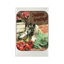 Adorable Puppy Holiday Gift Rectangle Magnet