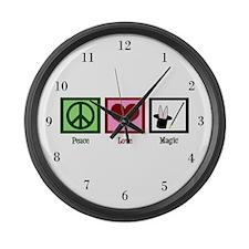 Peace Love Magic Large Wall Clock