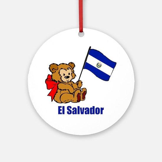 El Salvador Teddy Bear Ornament (Round)
