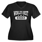 World's Best Mom Women's Plus Size V-Neck Dark T-S