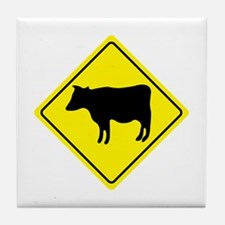 Cattle Crossing Sign Tile Coaster