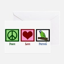 Peace Love Parrots Greeting Card