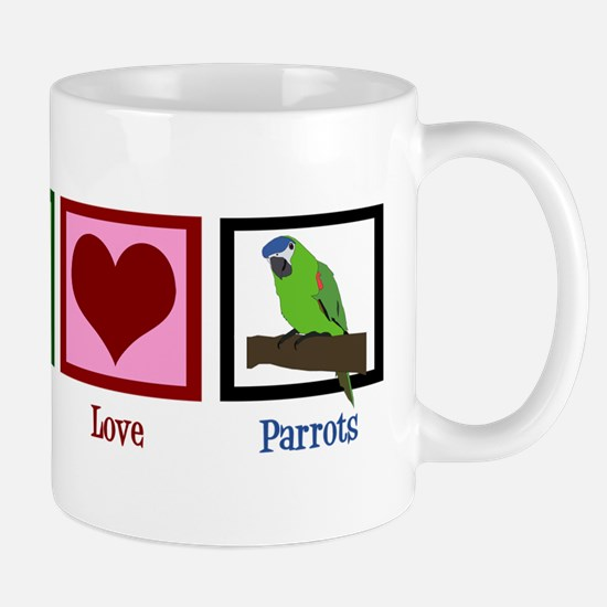 Peace Love Parrots Mug