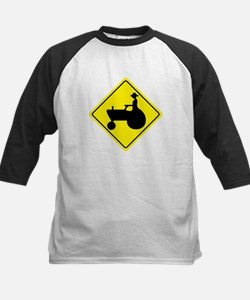 Tractor Crossing Sign Kids Baseball Jersey
