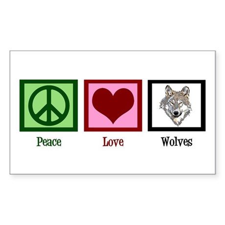 Peace Love Wolves Sticker (Rectangle)