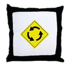 Roundabout Sign Throw Pillow
