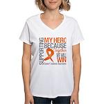 Supporting Hero Leukemia Women's V-Neck T-Shirt