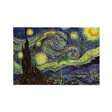 Starry Night by Van Gogh Rectangle Magnet (10 pack