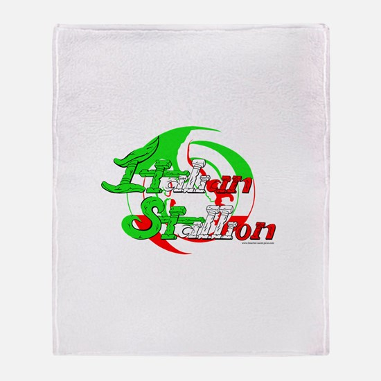 Funny Italian stallion Throw Blanket