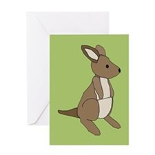 kangaroo (green) Greeting Card