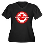 Canada Day Women's Plus Size V-Neck Dark T-Shirt