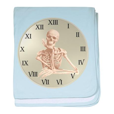 13 Hour Skeleton Clock baby blanket