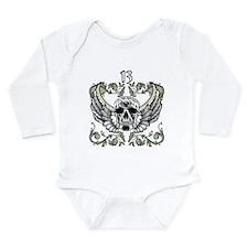 13 Hour Skull Clock Long Sleeve Infant Bodysuit