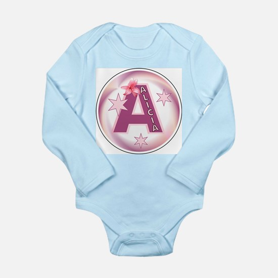 Alicia 1 inch Star Initial Long Sleeve Infant Body