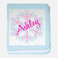 Ashley Snowflake Personalized baby blanket