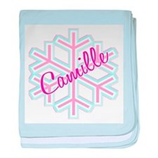 Camille Snowflake Personalize baby blanket