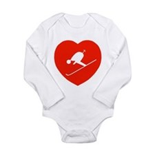Love Skiing Heart Long Sleeve Infant Bodysuit