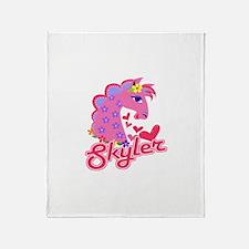 Skyler Loves Ponies Throw Blanket