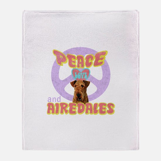 PEACE LOVE and AIREDALES Throw Blanket