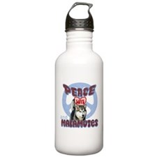PEACE LOVE and MALAMUTES Water Bottle
