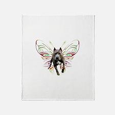 Pit Bull Butterfly Art Throw Blanket