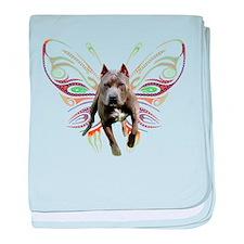 Pit Bull Butterfly Art baby blanket