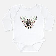 Pit Bull Butterfly Art Long Sleeve Infant Bodysuit