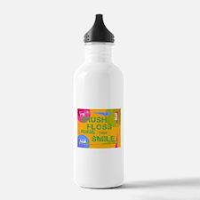 Brush Floss Rinse Smile Water Bottle