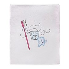 Healthy Tooth Brush and Floss Throw Blanket