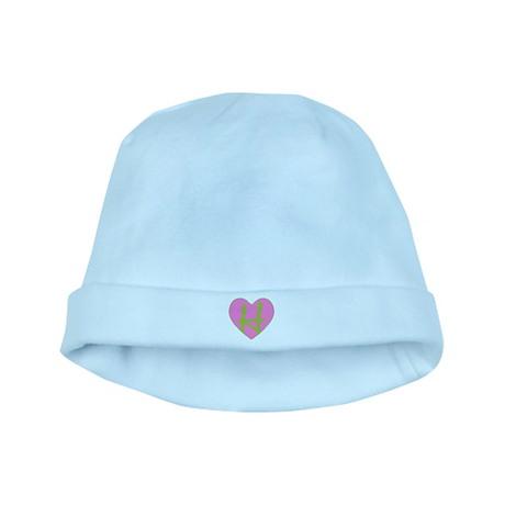 Pink Heart Monogram Initial H baby hat