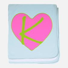 Pink Heart Monogram Initial K baby blanket