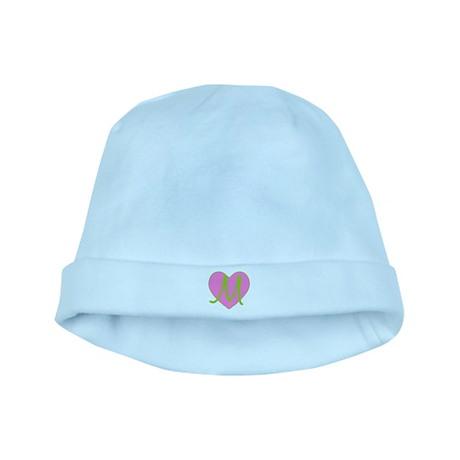 Pink Heart Monogram Initial M baby hat