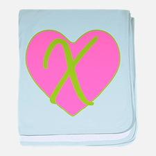 Pink Heart Monogram Initial X baby blanket