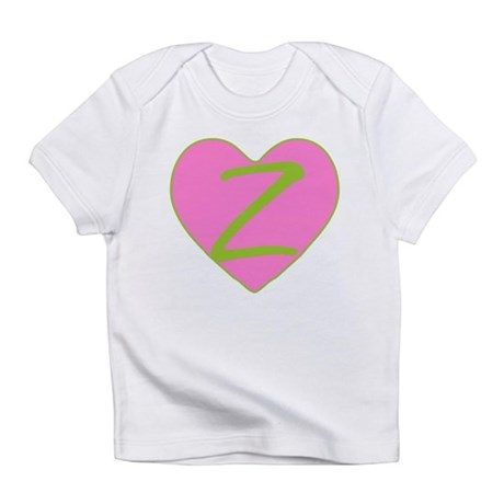 Pink Heart Monogram Initial Z Infant T-Shirt