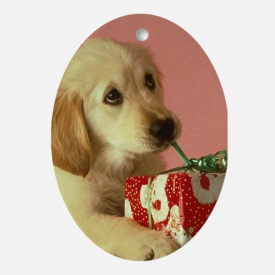 GOLDEN RETRIEVER PUPPY GIFT Ornament (Oval)