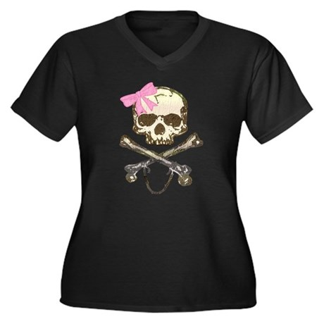 Skull and Crossbones with Pin Women's Plus Size V-