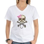 Skull and Crossbones with Pin Women's V-Neck T-Shi