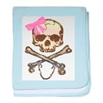 Skull and Crossbones with Pin baby blanket