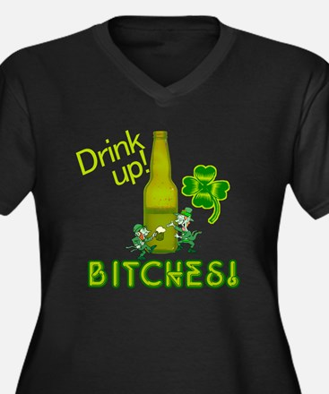 Drink Up Bitches! St. Patrick Women's Plus Size V-