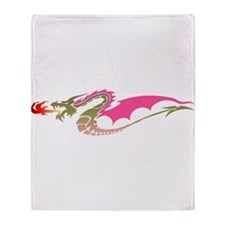 Pink Dragon Throw Blanket