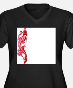 Red Climbing Dragon Women's Plus Size V-Neck Dark