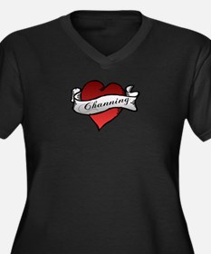 Channing Tattoo Heart Women's Plus Size V-Neck Dar