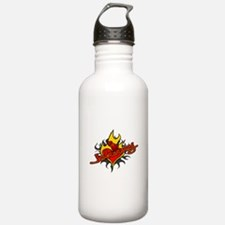 Johnny Heart Flame Tattoo Water Bottle