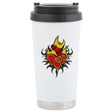 Depp Heart Flame Tattoo Travel Mug