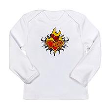 Depp Heart Flame Tattoo Long Sleeve Infant T-Shirt