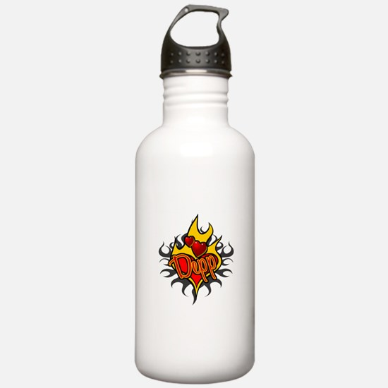 Depp Heart Flame Tattoo Water Bottle