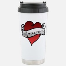 Sparrow Tattoo Heart Stainless Steel Travel Mug